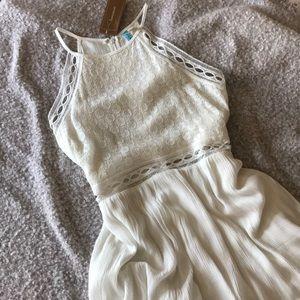 Francesca's High-Neck Lace A-Line Eyelet Dress